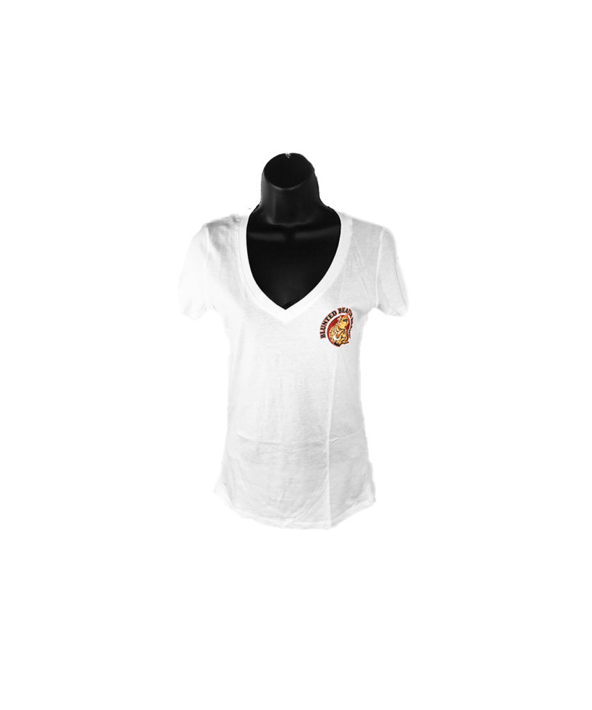 Women's White Blunted Beaver V-neck